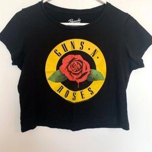 Guns N' Roses Black Crop Top